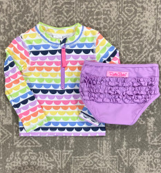 Ruffle Butts Rainbow L/S Rashguard Swimsuit