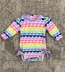 Ruffle Butts Rainbow Scallop 1 Pc Rashgaurd