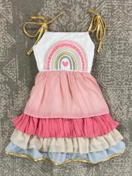 Evies Closet Rainbow Chiffon Dress