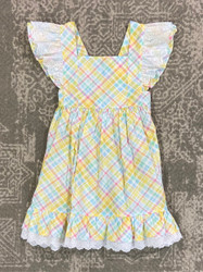 Banana Split Easter Plaid Dress w/Lace