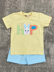 Banana Split Bunny HOP Applique Boy Short Set