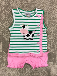 Three Sisters Baby Cow Girls Bloomer Set