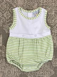 Three Sisters Baby Green Stripe Noah Knit Bubble