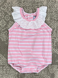 Three Sisters Baby Pink Stripe Bubble w/Lace