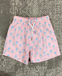 Bermies Pink Palm Swim Trunk