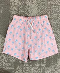 Bermies Pink Palm Swim Trunk