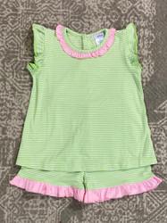 Ishtex Green Stripe Short Set