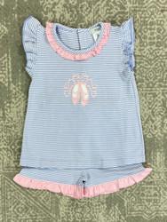 Ishtex Blue Stripe Ballet Slippers Short Set