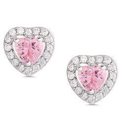 Lily Nily Pink/White Halo Heart Earrings