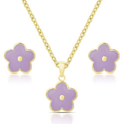 Lily Nily Purple FLower Necklace/Earrings Set