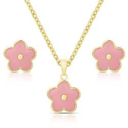 Lily Nily Pink FLower Necklace/Earrings Set