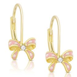 Lily Nily Pink/White Bow Earrings