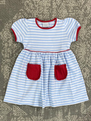 Squiggles Blue Stripe/Red Pocket Popover Dress