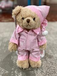 Teddy Bear with Pink Stripe Jammies