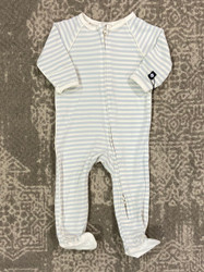 Sweet Bamboo Blue/White Stripe Piped Zipper Footie