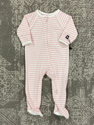 Sweet Bamboo Pink/White Stripe Piped Zipper Footie