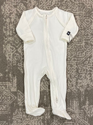 Sweet Bamboo Whispery White Piped Zipper Footie