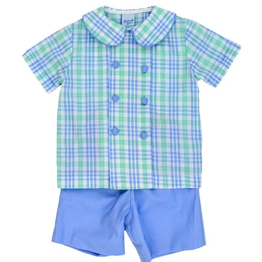 Bailey Boys Watercolor Plaid Dressy Short Set