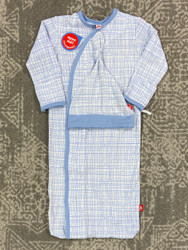 Magnificent Baby Greenwich Plaid Magnetic Gown Set