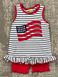 Be Mine American Flag Applique Short Set