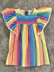 Anvy Kids Rainbow Stripe Anna Bradford Dress