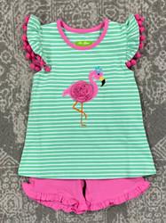 Be Mine Flamingo Applique Short Set