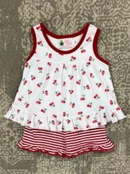Lily Pads Cherry Print Ruffle Short Set
