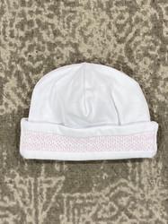 Kissy Kissy White/Pink Charmed Smocked Hat