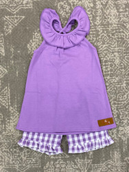 Millie Jay Purple Gingham Lily SHort Set Short Set