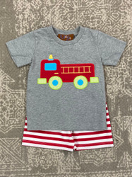 Millie Jay Firetruck Applique Boy Short Set