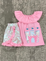 Millie Jay Castle Applique Short Set
