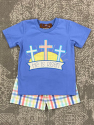 Millie Jay He is Risen Applique Boy Short Set