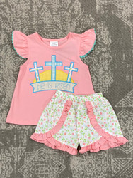 Millie Jay He is Risen Applique Girl Short Set