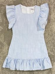 Gabby Blue Cotton Flutter Sleeve Dress