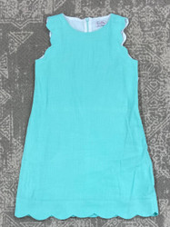 Gabby Aqua Scallop Shift Dress