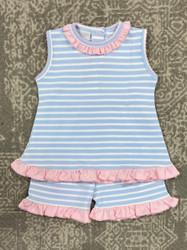Squiggles Blue Stripe/Pink Trim Short Set