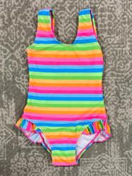 Flap Happy Neon Stripe Hip Ruffle Swimsuit