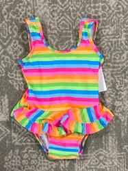 Flap Happy Neon Stripe Infant Ruffle Swimsuit