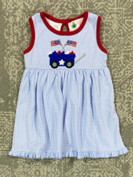 Lily Pads Blue Gingham Patriotic Wagon Dress