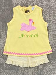 Bailey Boys Flamingo Flo Applique Girls Short Set