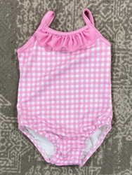 Bailey Boys Pink Gingham 1 Pc Swimsuit