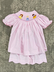 Delaney Pink Check Princess Short Set