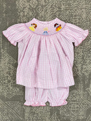 Delaney Pink Check Princess Bloomer Set