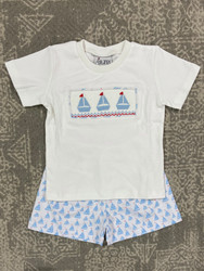 Delaney Blue Sailboat Short Set