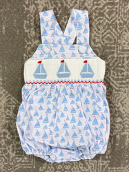 Delaney Blue Sailboat Ruffle Sunsuit