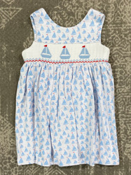 Delaney Blue Sailboat Wrap Sundress