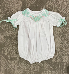 Delaney Teal Smocked Dainty Bubble