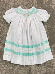 Delaney Teal Smocked Dainty Hem Dress