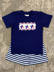 Delaney Boys Patriotic Smocked Short Set