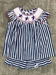 Delaney Girls Patriotic Smocked Short Set